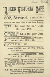 Advert for the Queen Victoria Cafe